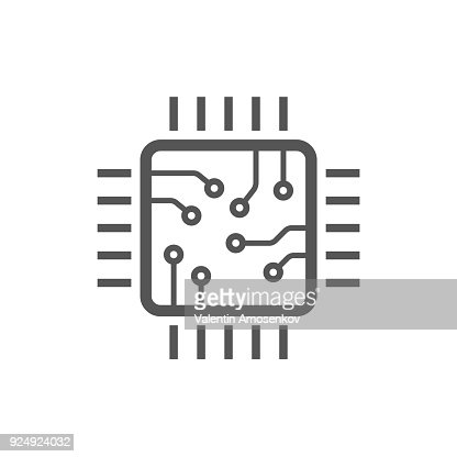 Chip isolated minimal icon. Processor line vector icon for websites and mobile minimalistic flat design. Editable Stroke : stock vector
