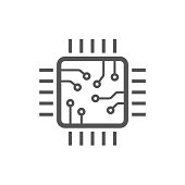 chip isolated minimal icon. processor line vector icon for websites and mobile minimalistic flat design. EPS 10