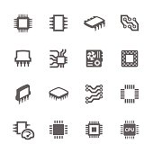 Simple Set of Computer Chips Related Vector Icons for Your Design.
