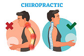 Chiropractic conceptual vector illustration with back bone curvature. Healthy and deformed.