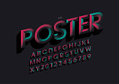 Vector of colorful chisel font and alphabet