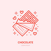 Chocolate bar illustration. Sweets flat line icon, candy shop. Valentines day present sign.