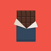 Chocolate bar, polyethylene wrap. Vector illustration in flat style on red background