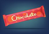 Isolated chocolate bar on a blue background