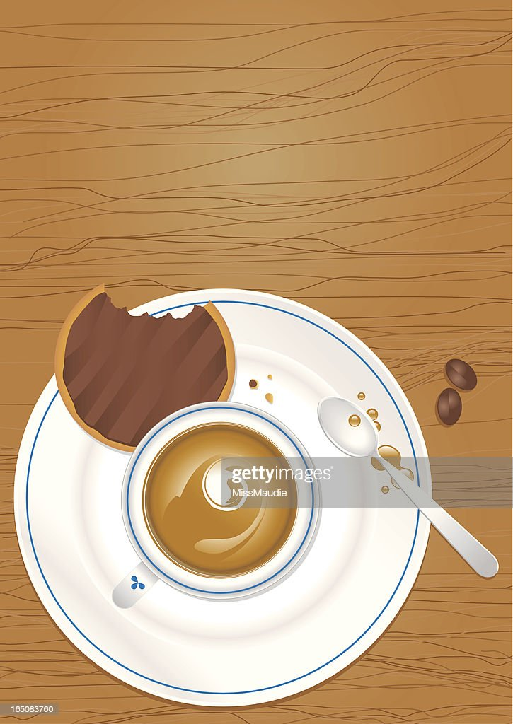 Chocolate biscuit and Cup of Coffee : Vector Art