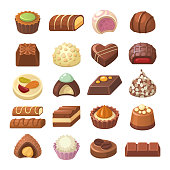 Vector illustration of different shapes and kinds of chocolate candies, such as truffle and praline. Isolated on white background.