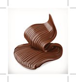 Chocolate cream, butter swirl, vector graphic element, mesh