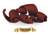 Chocolate shavings on white background. Realistic style vector illustration