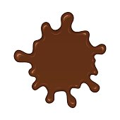 Chocolate splash blot. Chocolate blot with melting effect. Vector abstract spot on white background.