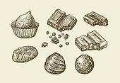 Chocolates. Hand-drawn sketch sweets, caramel, candy, bonbon sweetmeat Vector illustration