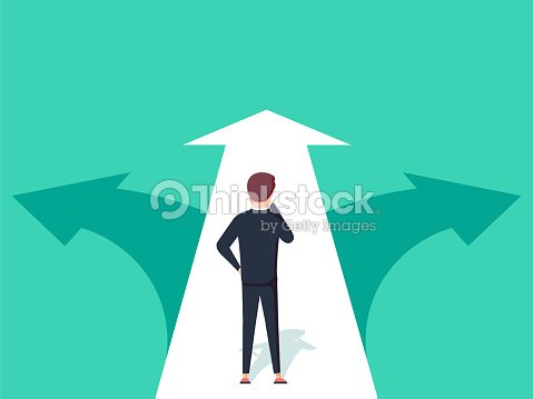 Choice way concept. Decision business metaphor. Vector flat style design. Isolated on background. : stock vector
