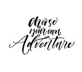 Choose your own adventure card. Ink illustration. Modern brush calligraphy. Isolated on white background.