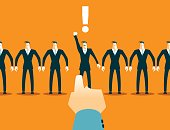Choosing among the many employees. Recruitment. Vector illustration