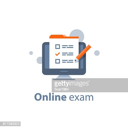 Choosing answer, questionnaire form, exam preparation, online test, checklist  on monitor : stock vector