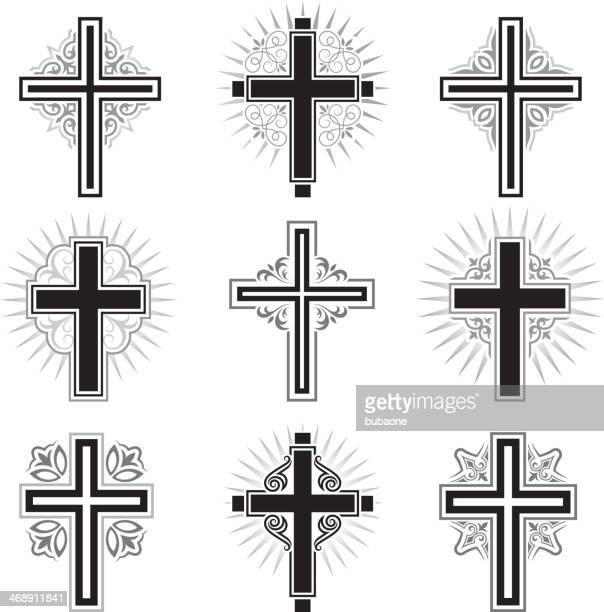 Christian Cross black and white royalty free vector icon set