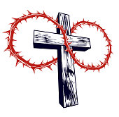 Christian cross with blackthorn thorn vector religion sign or tattoo, passion of the Christ.