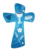Christian cross - Evangelical - with symbols of bread, chalice, grapes and ears of wheat on a blue background with multiple exposure technique