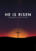 Christian easter scene, Saviour cross on dramatic sunrise scene, with text He is risen, vector illustration.