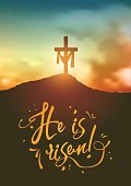 Christian easter scene, Saviour's cross on dramatic sunrise scene, with text He is risen, vector illustration, eps 10 with transparency and gradient meshes