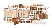 Graphic design of word and phrases associated with the Biblical and Christian concept of forgiveness.