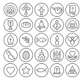 Set of Isolated High Quality Universal Standard Minimal Simple Black Thin Line Christian Icons on Circular Buttons on White Background.