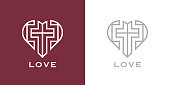 Abstract religious cross and heart icon. Christian love symbol. Vector illustration.