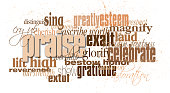 Graphic typographic montage of the word praise with associated Christian and Biblical words and phrases