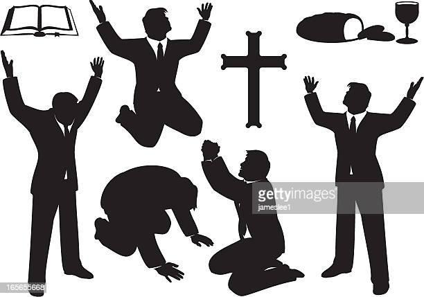 Christian Prayer and Praise Silhouette Set