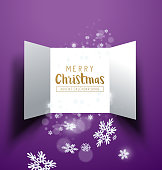 Christmas advent Calendar Doors opening with snowflakes and glitter. Vector illustration.