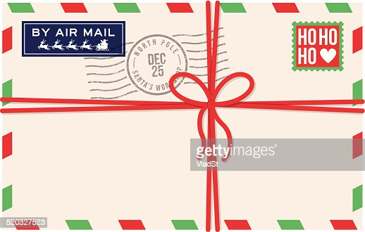 christmas air mail letter from santa vector art