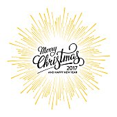 Merry Christmas and Happy New Year 2017 Card with Starburst. Hand drawn typographic composition. Vector illustration.