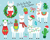 Cute llama and alpaca with Christmas holidays theme. Llama wearing Santa hat and sweater, carrying Christmas gifts. Llama with Christmas wreath and light. Cactus with Santa hat.