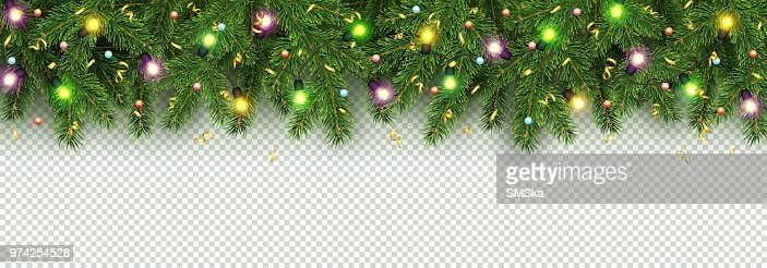 Christmas and New Year banner of realistic branches of Christmas tree, garland with glowing light bulbs, holly berries, serpentine : stock vector
