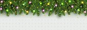 Christmas and New Year banner of realistic branches of Christmas tree, garland with glowing light bulbs, holly berries, serpentine Festive background Vector Isolated on transparent background