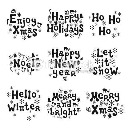 Christmas And New Year Calligraphy Phrases Set Handwritten Brush ...