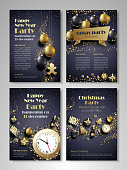 Merry Christmas and Happy New Year party flyer, brochure, holiday invitation, corporate celebration. Christmas ornaments, balls, gifts, champagne, snowflakes, confetti, tinsel on black background. Vec