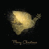 Merry Christmas and Happy New Year luxury greeting card design, gold dove bird silhouette made of golden glitter dust on black background. EPS10 vector.