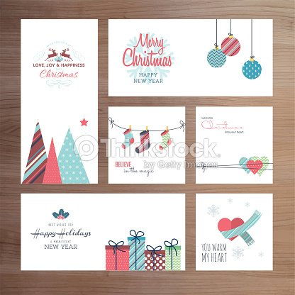 christmas and new year greeting card templates vector art