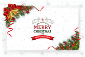 Christmas background with decoration and paper. Decorative Christmas festive background with bells stars and ribbons.