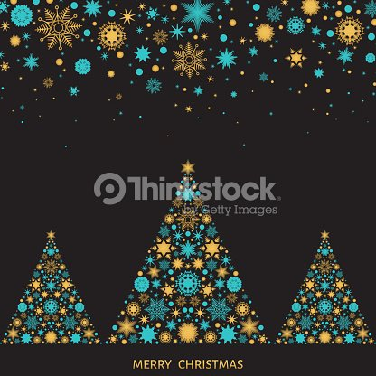 christmas and new year greeting card with xmas trees vector art