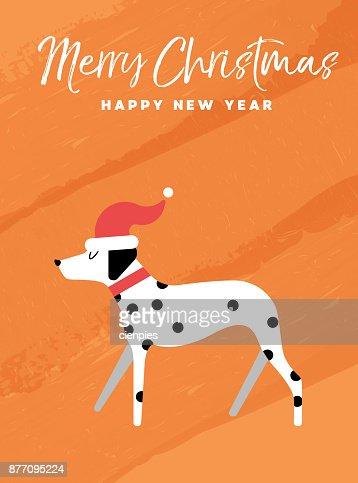 Christmas and new year holiday dalmatian dog card : Vector Art
