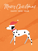 Merry Christmas and Happy New Year holiday greeting card illustration. Funny Dalmatian dog with Santa Claus hat on colorful texture background. EPS10 vector.