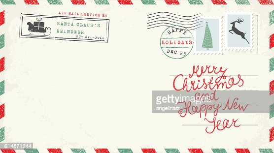 Christmas and New Year Postcard Wish : clipart vectoriel