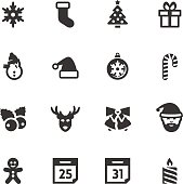 Christmas and New Year related vector icons set