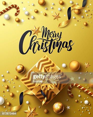 Navidad y nuevo cartel de oro de años con regalo oro caja, cinta y Navidad elementos decoración venta por menor, comercial o promoción de Navidad en oro estilo. Ilustración de vector : Arte vectorial