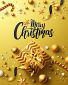 Christmas and New Years Golden Poster with golden gift box,ribbon and christmas decoration elements for Retail,Shopping or Christmas Promotion in golden style.Vector illustration