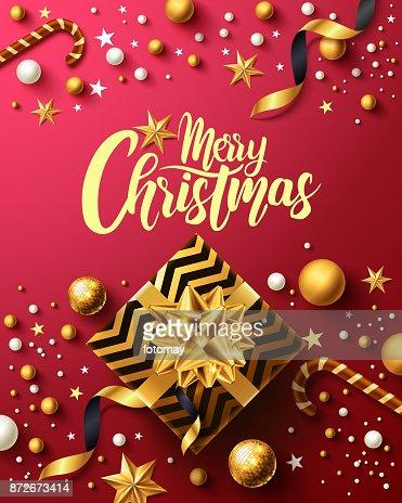 Navidad y nuevo años rojo cartel con regalo oro caja, cinta y Navidad elementos decoración para la venta por menor, comercial o promoción de Navidad en dorado y rojo estilo. Ilustración de vector : Arte vectorial