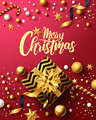 Christmas and New Years Red Poster with golden gift box,ribbon and christmas decoration elements for Retail,Shopping or Christmas Promotion in golden and red style.Vector illustration