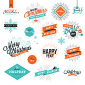 Christmas and New Year's vintage style signs for greeting cards, gift tags, Christmas sale, web design, product promotion, e-commerce and marketing material.