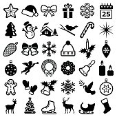 Christmas and winter icon collection - vector silhouette